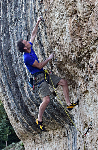 The author sending his mini-project (and first ascent) Blitzkrieg, Ten Sleep Canyon, WY.
