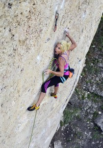 "Age 50 and redpointing 5.12b/7b! Lisa Ann Hörst sending the thin, sustained ""Good Luck Jonathan"" at Ten Sleep Canyon, WY."